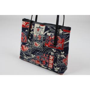 和柄 バッグ 横型 手提げ トートバック WG-14 日本製 花和小紋|ran|03