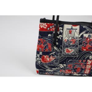 和柄 バッグ 横型 手提げ トートバック WG-14 日本製 花和小紋|ran|04