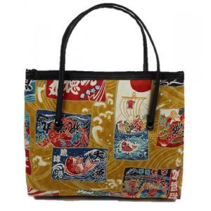和柄 バッグ 横型 手提げ トートバック WG-15 日本製 花和小紋|ran