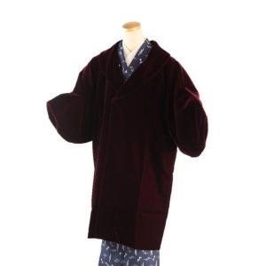 高級 AGEHARA ベルベット 和装用 へちま衿コート エンジ  M/Lサイズ|ran