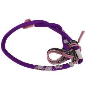 正絹 振袖用 桜刺繍入り 丸ぐけ帯締め MA-2 パープル 日本製|ran