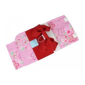 浴衣・作り帯2点セット JYS-4 KIDS YUKATA 女の子 140cm お仕立て上り 変り織り浴衣 作り帯...