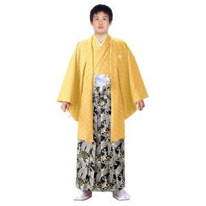 男性 殿方用 刺繍 紋付 羽織 着物 セットNo.2 黄色 MMH-2|ran