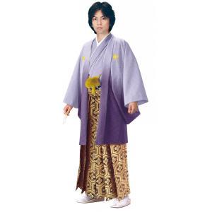 男性 殿方用 刺繍 ボカシ 紋付 羽織 着物 セットNo.10 紫ボカシ色  MMH-10|ran