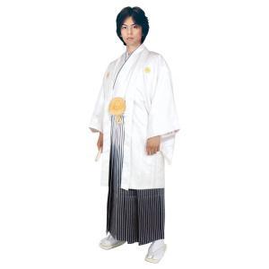 男性 殿方用 刺繍 紋付 羽織 着物 セットNo.3 白色  MMH-3|ran