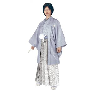 男性 殿方用 刺繍 紋付 羽織 着物 セットNo.4 グレー色  MMH-4|ran