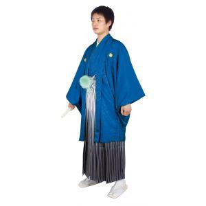 男性 殿方用 刺繍 紋付 羽織 着物 セットNo.6 紺色  MMH-6|ran