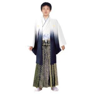 男性 殿方用 刺繍 ボカシ 紋付 羽織 着物 セットNo.9 白紺ボカシ色  MMH-9|ran