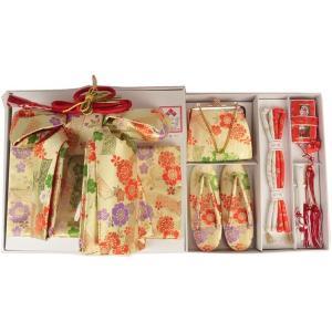 七五三  7才用  結び帯とハコセコのペアセッ ト ZHS-1 大寸 クリーム のしに桜(日本製)|ran