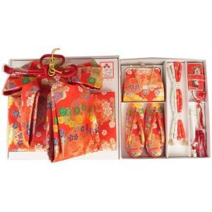 七五三  5才用  結び帯とハコセコのペアセッ ト ZHS-3 中寸 赤 雪輪と小花(日本製)|ran