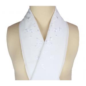 半衿 礼装用 刺繍入り 白地 半襟 SiH-1 ran