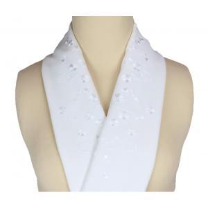 半衿 礼装用 刺繍入り 白地 半襟 SiH-3|ran