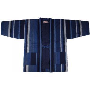 半纏 はんてん HJN-4 男性用 久留米 わた入れ 藍調半天 日本製 宮田織物 紺白大縞|ran