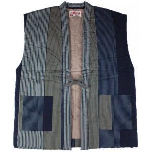 半纏 はんてん HZN-2 男性用 60双糸 久留米 袖なし わた入れ 日本製 宮田織物 紺|ran