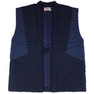 半纏 はんてん HZN-3 男性用 おしゃれポンチョ 久留米 袖なし わた入れ 日本製 宮田織物 紺|ran