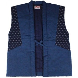 半纏 はんてん HZN-4 男性用 おしゃれポンチョ 久留米 袖なし わた入れ 日本製 宮田織物 ブルー|ran