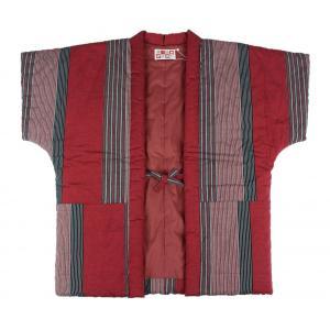 半纏 はんてん HTN-5 女性用 久留米 袖なし 60双糸縞奴 わた入れ 日本製 宮田織物 赤|ran