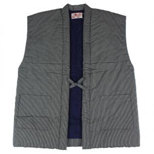 半纏 はんてん HTN-6 男性用 久留米 袖なし 60双糸縞 ポンチョ わた入れ 日本製 宮田織物 小縞紺|ran
