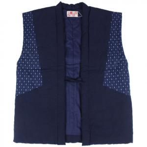 半纏 はんてん HTN-7 男性用 久留米 袖なし おしゃれポンチョ わた入れ 日本製 宮田織物 紺|ran