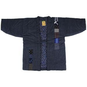 半纏 (はんてん) MCH-3 紺系 男女兼用 最高級 民芸 久留米織り 日本製 どてら|ran