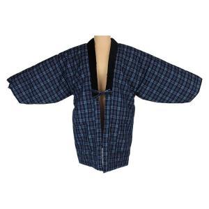 男性用 最高級 久留米 手作り  半纏 (はんてん)  H-3  日本製 紺 青 格子柄|ran