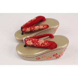 後ろ姿まで可愛い ハイヒール型の桜刺繍草履 豪華 太鼻緒 137-赤|ran