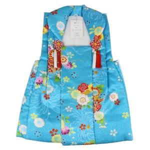 七五三 被布コート HKK-10 菊・絞り柄 ポリエステル 3歳〜4歳 青|ran