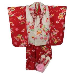 正絹 七五三 3歳〜4歳用 被布コート8点フルセット  SSH-2 花柄 半衿付|ran