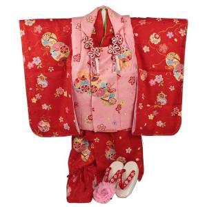正絹 七五三 3歳〜4歳用 被布コート8点フルセット  SSH-3 花柄 半衿付|ran