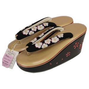 かかとの高い レースカットワーク桜柄 ハイヒール 刺繍 草履 Fサイズ 23.5cm-24.5cm G|ran