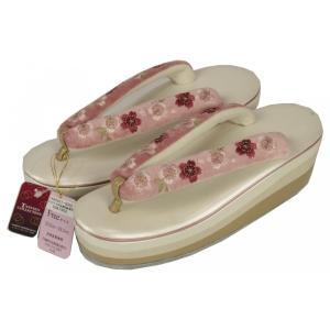 ベロア 桜刺繍草履 かかと高 4枚芯 No.157 BCZ-2|ran