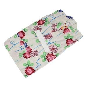 訳あり キッズ浴衣 KKU-26 女の子 変り織 お仕立て上がり 120 花柄 白色|ran