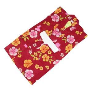 訳あり キッズ浴衣 KKU-80 女の子 変り織 お仕立て上がり 100 花柄 赤色|ran