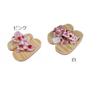 子供用 女の子 下駄 ソフト Sサイズ 16.5cm 草履 ハート柄鼻緒 KL-4 (ピンク・白)|ran