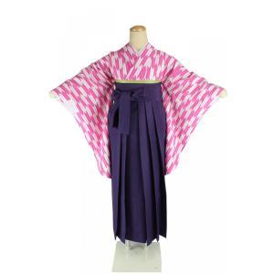 二尺袖 着物 矢絣 お仕立て上がり Sサイズ 袴 紫 & 袴下帯 3点セット 2K-PK-HM-P ran