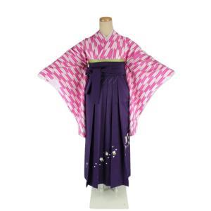 二尺袖 着物 矢絣 お仕立て上がり S/Fサイズ 刺繍 袴 紫 & 袴下帯 3点セット 2K-PK-HS-P ran