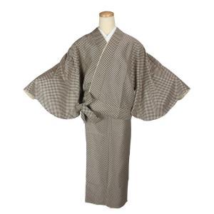 二部式着物 小紋 TFN-10 セパレート きもの 簡単着付け 市松柄 フリーサイズ|ran