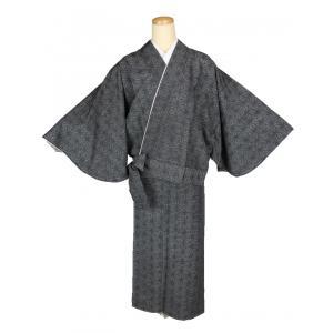 二部式着物 紬 TFN-3 セパレート きもの 簡単着付け 麻の葉柄 フリーサイズ|ran