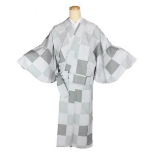 二部式着物 紬 TFN-7 セパレート きもの 簡単着付け 市松柄 フリーサイズ|ran