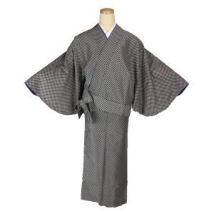 二部式着物 小紋 TFN-9 セパレート きもの 簡単着付け 市松柄 フリーサイズ|ran