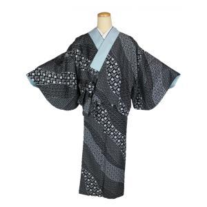 二部式着物 麻の葉柄 KNK-2 リバーシブル セパレート きもの 簡単着付け Мサイズ|ran