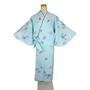 単衣 高級 変わり織り 二部式着物 Mサイズ 5BN-3 水色|ran