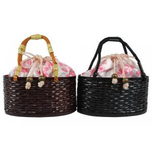 巾着 竹かごバッグ TKB-22 花柄 ピンク色  黒/茶|ran