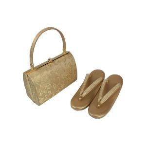 金鷲本舗  礼装用 帯地 金地 草履バッグセット 2枚芯  Mサイズ  キンワシ印 KBZ-5 日本製|ran