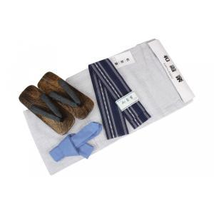 メンズ浴衣セット 12MY-19 和遊楽 浴衣(M/L/LLサイズ)・角帯(2356 紺)・桐下駄・腰紐 4点セット|ran