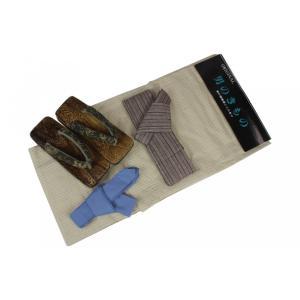 メンズ浴衣セット 4MY46 浴衣(S/Mサイズ)・ワンタッチ角帯(茶)・おまかせ桐下駄・腰紐 4点セット ran