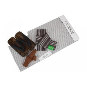 メンズ NICOLE 浴衣4点セット NCL27-1 浴衣(Lサイズ)・角帯(こげ茶)・下駄(GA-31)26.0cm・腰紐 4点セット|ran