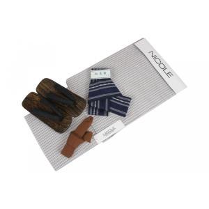 メンズ NICOLE 浴衣4点セット NCL27-2 浴衣(Lサイズ)・角帯(紺)・下駄(GA-31)26.0cm・腰紐 4点セット ran
