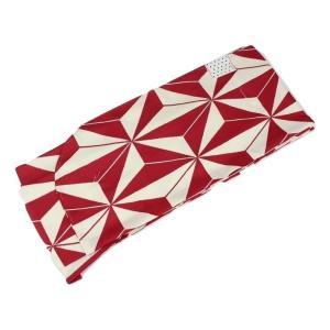 二尺袖 KNS-2 着物 単品 卒業式に 麻の葉柄 赤 袴用着物 変わり織 ran