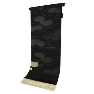 夏用 正絹 西陣織 絽 黒共 名古屋帯 RQN-6 お仕立て(帯芯入り)付 未仕立て品|ran